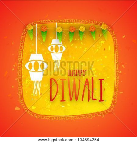 Elegant greeting card design with hanging lamps and traditional mango leaves for Indian Festival of Lights, Happy Diwali celebration.