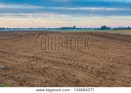 Autumnal Plowed Field Landscape