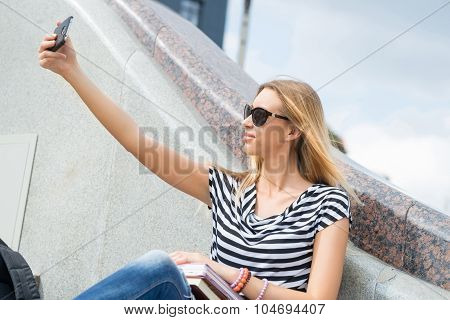 Girl making selfie