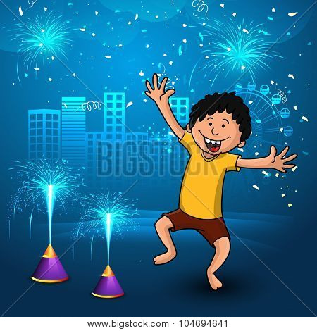 Cute little boy enjoying firecrackers on creative shiny blue urban city background for Indian Festival of Lights, Happy Diwali celebration.