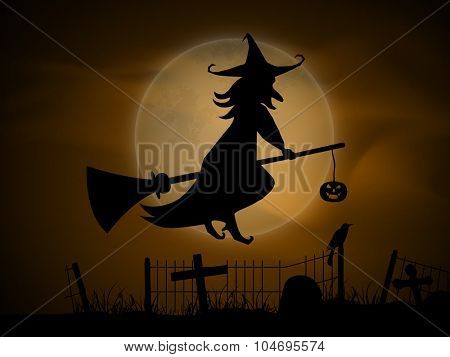 Scary witch flying on horn broom for Happy Halloween party celebration.