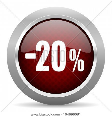 20 percent sale retail red glossy web icon