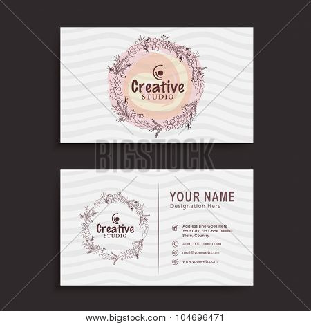 Stylish professional horizontal business card, visiting card or name card with abstract floral design.