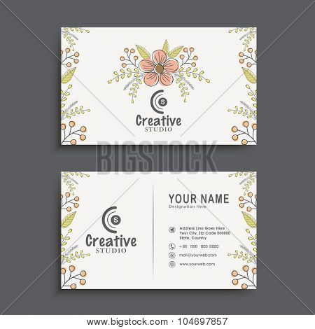 Creative horizontal business card, name card or visiting card set decorated with beautiful flowers.
