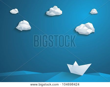 Low poly paper boat vector background. Polygonal clouds and waves. Business leader abstract concept.