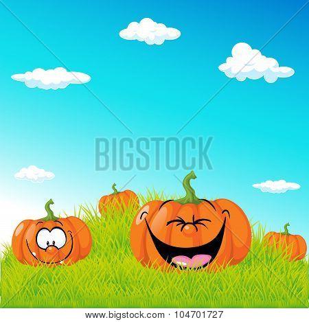 Funny Illustration With Pumpkin On Green Grass - Vector Illustration