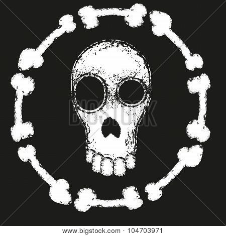 Grungy Art Print With Skull And Bones.