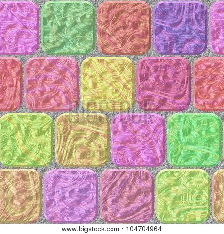 Pastel Stone Wall Tiles Seamless Pattern Texture On Gray Grout