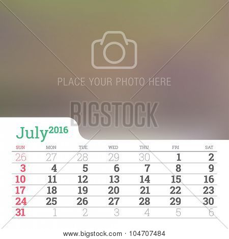 Calendar 2016 Vector Design Template.