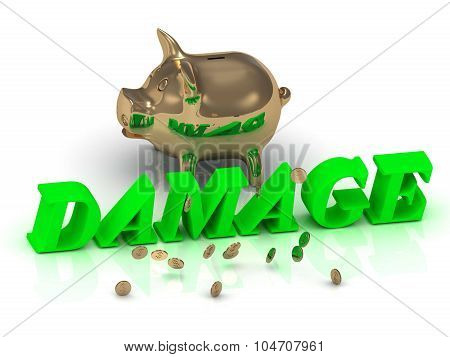 Damage- Inscription Of Green Letters And Gold Piggy
