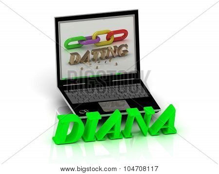 Diana- Name And Family Bright Letters Near Notebook