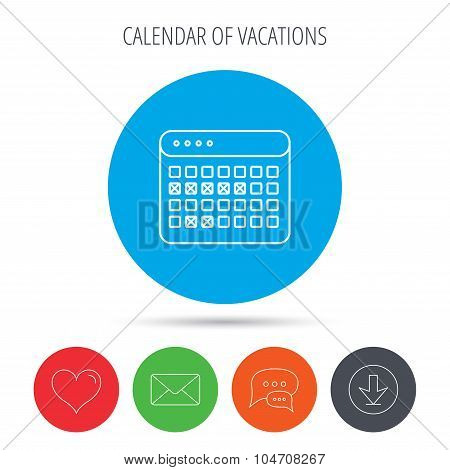 Calendar icon. Vacations organizer sign.