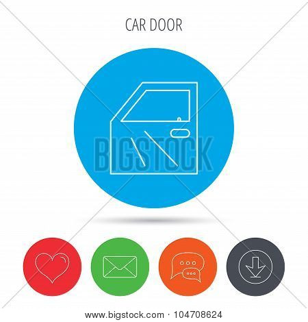 Car door icon. Automobile lock sign.