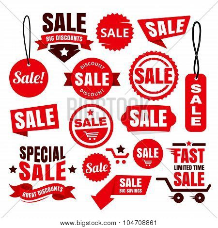 Red Discount Sale Tags, Badges And Ribbons
