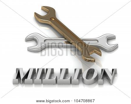 Million- Inscription Of Metal Letters And 2 Keys