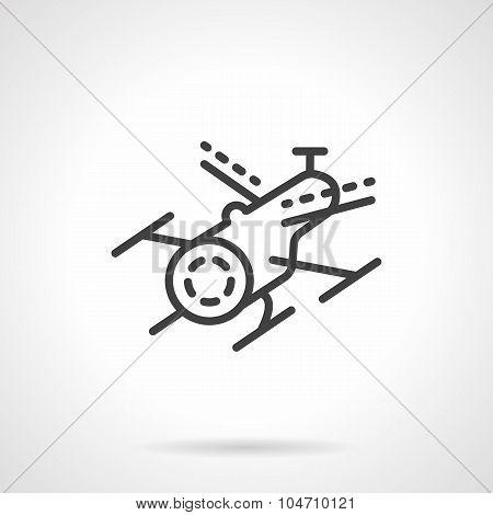 Black line drone vector icon
