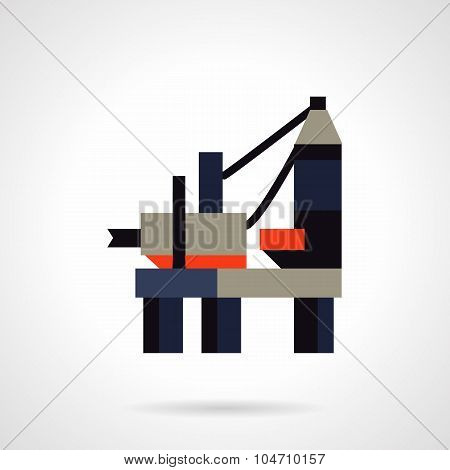 Offshore oil rig flat vector icon