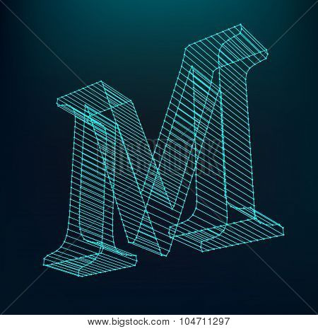 The letter M. Polygonal letter. Low poly model. The three-dimensional mesh. Volume mesh character.