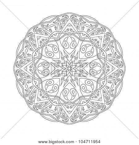 Golden Mandala. Floral ethnic abstract decorative elements.