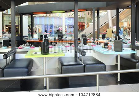 PARIS, FRANCE - SEP 12, 2014: Interior of Japanese restaurant K10 at the mall in La Defense