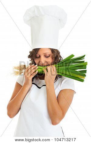 Chef Woman Eating Fresh Leek