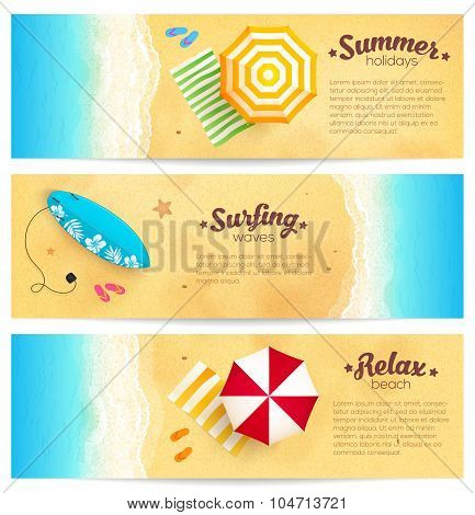 Set of summer travel banners with beach umbrellas, waves and surfing board