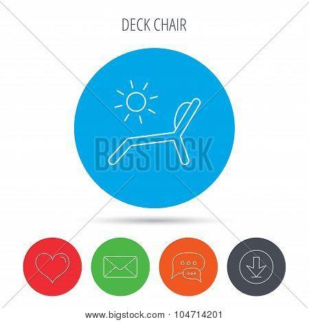 Deck chair icon. Beach chaise longue sign.