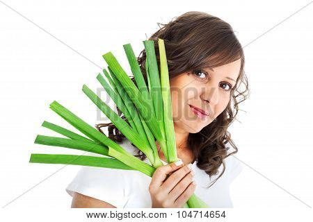 Young Woman With Fresh Leek