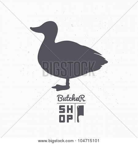 Farm bird silhouette. Duck meat. Butcher shop template