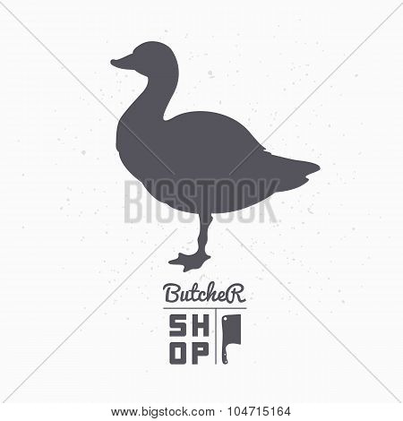 Farm bird silhouette. Goose meat. Butcher shop template