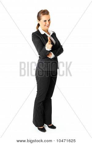 Full length portrait of friendly modern business female pointing finger at you