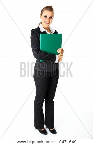 Full length portrait of smiling modern business woman holding folders with documents in hands