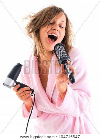Woman Singing With Hairbrush