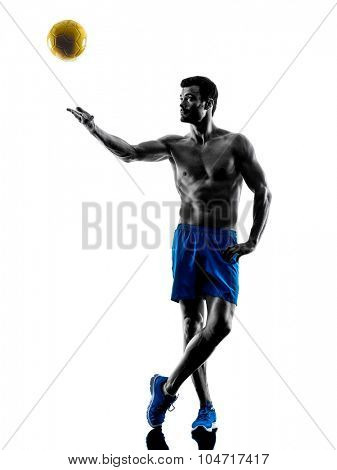 one caucasian man beach volley in studio silhouette isolated on white background