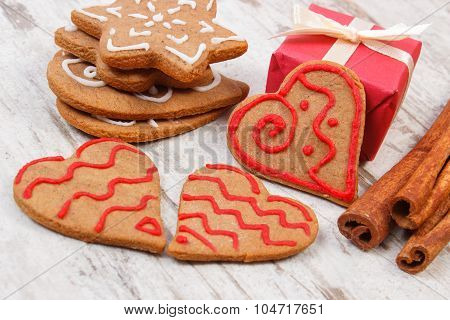 Gingerbread With Cinnamon And Gifts For Christmas On Old Wooden Background, Christmas Time