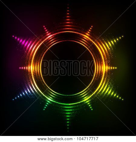Abstract rainbow neon spirals vector cosmic star frame