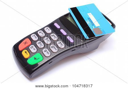 Payment Terminal With Contactless Credit Card On White Background