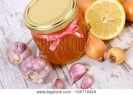 Honey In Glass Jar, Onion, Lemon And Garlic, Healthy Nutrition And Strengthening Immunity