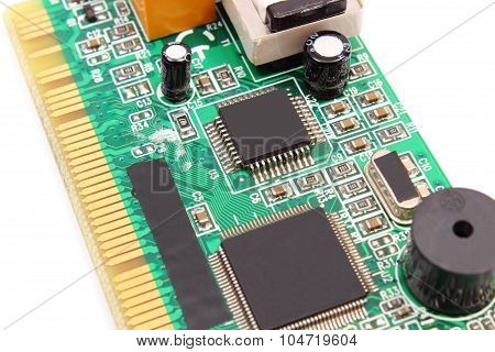 Printed Circuit Board On White Background, Technology