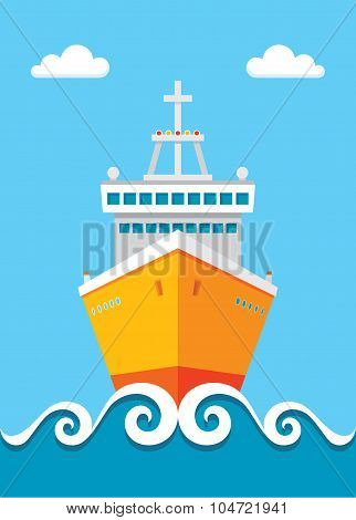 Cruise liner - vector concept illustration in flat design style.