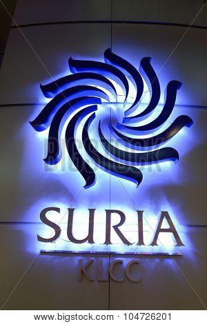 KUALA LUMPUR, MALAYSIA - APRIL 23, 2014: Suria KLCC shopping mall logo. Suria KLCC is one of the largest shopping malls in Malaysia