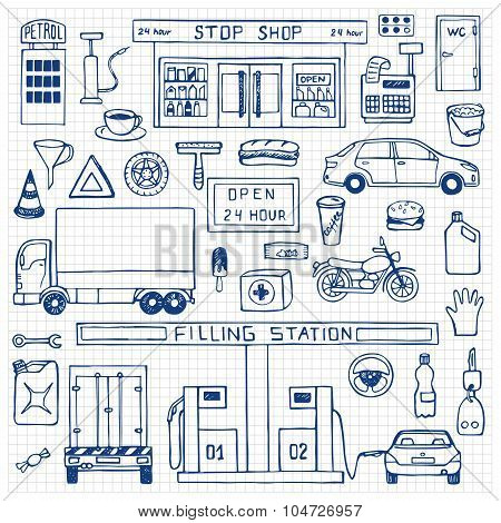 Hand drawn doodle set with filling station