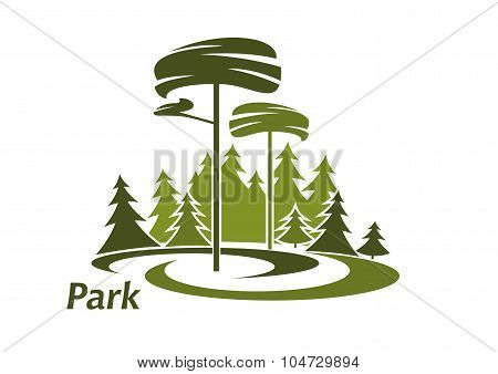 Park landscape icon with evergreen trees