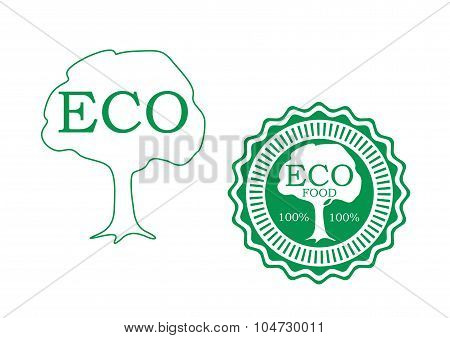 Fresh food green labels with tree