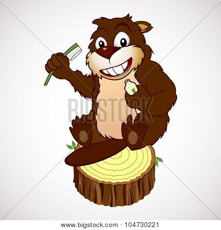 Beaver Cartoon Character With A Toothbrush