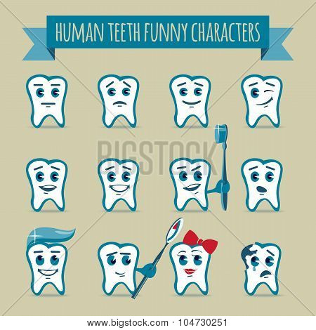 Set Of Human Teeth Funny Characters