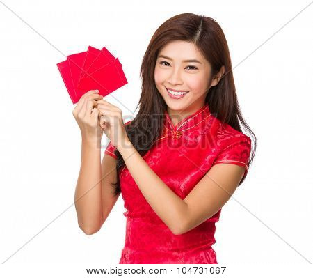 Chinese young woman showing the lucky money