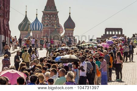 People Waiting In Queue Lenin's Mausoleum On Red Square