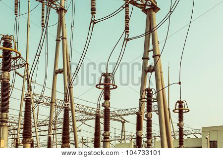 Electric Substation Tower For Generating Energy With Sky Background