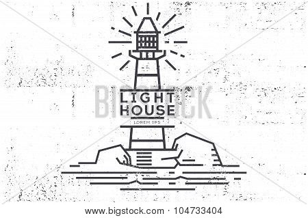 vintage label - east lighthouse. Stock vector.